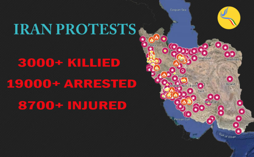 """Comprehensive Report of 2019 """"Bloody November"""" Iranian Protests.  Study of the data of 3000+ murdered and 19000+ detained. Includes the names of 850+ murdered."""